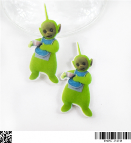 5 x 45MM DIPSY FROM TELETUBBIES LASER CUT FLAT BACK HEADBANDS BOWS PLAQUES CARD MAKING